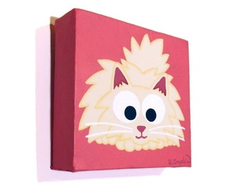 Fluffy White Persian Cat Art - original acrylic painting of a cute longhaired cat on a bright pink background, nursery art on small canvas