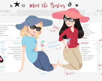 Custom Meet the Artists / Co Owners /  Sisters / Best Friends / Writers / Infographic Self Portrait Illustration