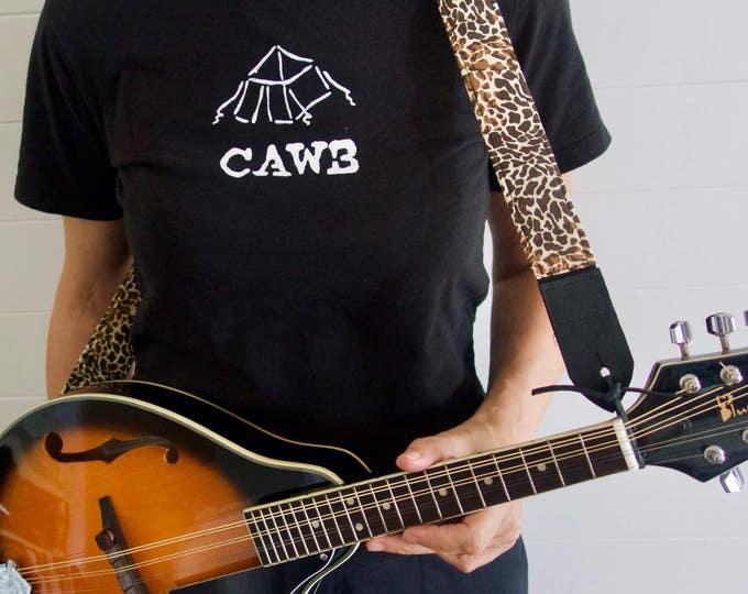 Ukulele strap, mandolin strap or child guitar strap // cool animal print in brown and beige // bluegrass music gift // folk instrument gift
