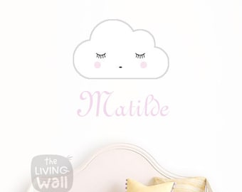 Personalized Name Baby Wall Art, Personalized Baby Girl Name With Dreaming Cloud Removable Wall Sticker, Wall Decals Nursery Decor