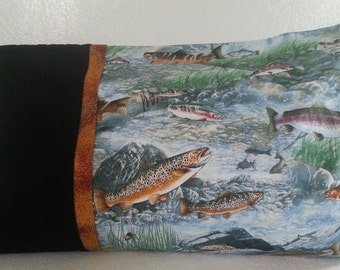 Travel Pillowcase-Trout Stream with Brown Trim and Black Cuff
