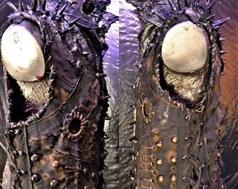 The Schism SceneSick Sculpted Spiked Stage Wear Post Apocalyptic Biker Heavy Metal Distressed Horror Fantasy Cosplay Costume Unisex Vest