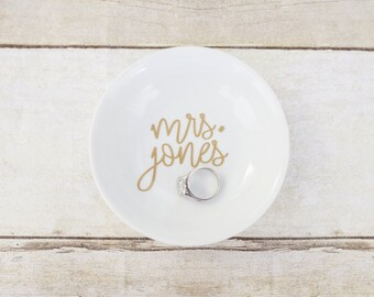 Custom Wedding Bridal Ring Dish - Circle