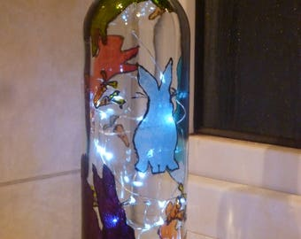 Hand Painted Bunny Rabbit bottle light