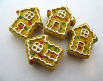 4 Large Gingerbread House Beads