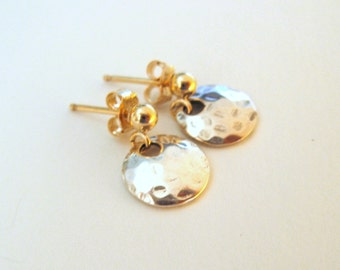 Dainty 14K Gold Filled Sterling Silver Stud Earrings with domed sterling silver charm - studs - Dangle earrings - Dainty Earrings -bride