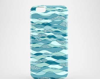 Waves phone case, Blue phone case, iPhone X, iPhone 8, iPhone 7, iPhone SE, iPhone 6S, iPhone 6, iPhone 5S, iPhone 5, blue phone case