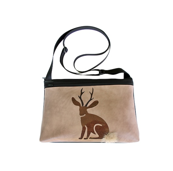Jackalope, glitter vinyl, tan vinyl, fake fur, medium crossbody, vegan leather, zipper top