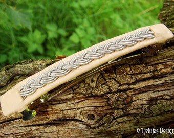 SLEIPNER Nordic Viking Hair Clip Barrette 10 cm with Natural Reindeer Leather and Swedish Sami Tin Thread braid