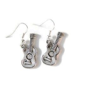 Silver Guitar Earrings, Musician Earrings, Guitarist Jewelry, Music jewelry