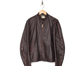 Vintage Cafe Racer Biker Jacket - 1970s Leather Cafe Racer Motorcycle Jacket - 70s Distressed Oxblood Brown Leather Biker - Leather Jacket