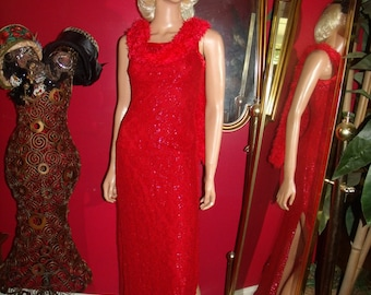Vintage  90s Flapper Dress Red  Lace  Metallic  Tea party Holiday  Size XS