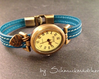 Watch leather bronze turquoise