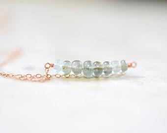 moss aquamarine bar necklace. smooth moss aquamarine bar pendant necklace. rose gold filled chain. moss aquamarine bar jewelry