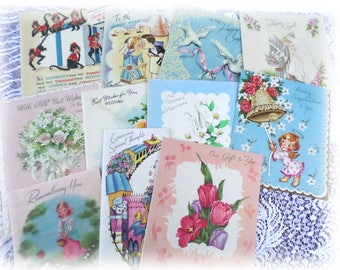 11 Vintage Used Wedding/Shower Greeting Cards for Scrapbooking, Crafts, Decorations