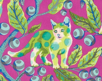 Tabby Road Fabric - Disco Kitty by Tula Pink in Berry Bird PWTP092.Berry  Kitten Cats - 100% Quality Cotton Rare by Fat 1/4 Yard & Yardage