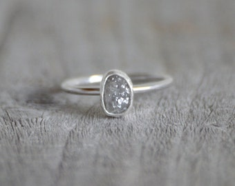 Raw Diamond Engagement Ring, 0.95ct Grey Diamond Ring, Handmade In England