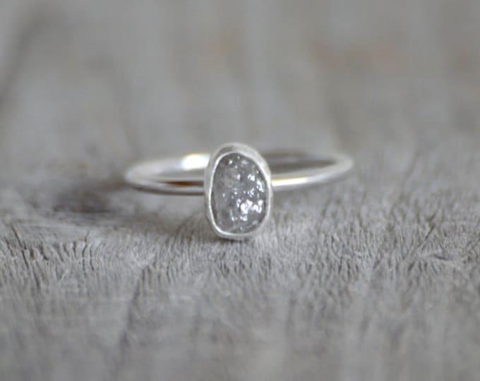 Raw Diamond Engagement Ring, 0.95ct Grey Diamond Ring, Handmade In England