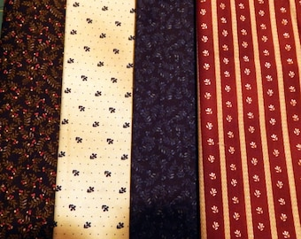 NEW Liberty Hill Quilt Fabric 100% Cotton Americana  Four Cuts Over 2 Yards  Tan Navy Blue Red Stripe
