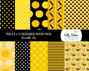 Bumble Bee Yellow and Black - Designer Paper Pack - Digital Elements for Cards, Stationery, Backgrounds and Paper Crafts and Products