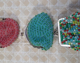 "Vintage Beaded Coin/change Purse. 3"" Colorful Pattern Lot Of 3"