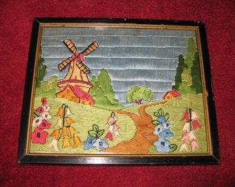"""VINTAGE WINDMILL EMBROIDERY Framed In Antique Wood Frame 9"""" X 11"""" Painted Black Inner Gold Border Features Windmill Flowers Pathway"""