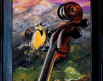 8) Meadowlark & Base 11x14 Signed Print / Bird animal nature print. Bird and Musical Instrument art, music, Montana artist