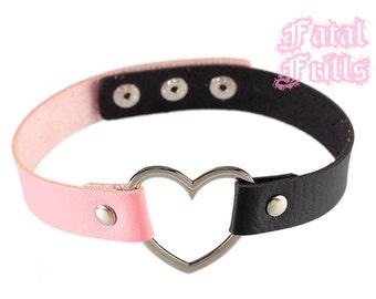 Black & Pastel Pink Leather Heart Choker Collar Pastel Goth Kawaii Punk 90s Adjustable O-Ring Necklace Vegan