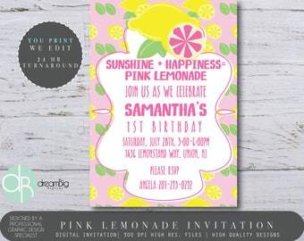 Pink Lemonade Invite Lemonade Invitations Pink Lemonade Party Lemonade Party Lemonade Invitation Lemonade Invite Citrus Party Invitation