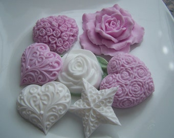 Pink White Hearts and Roses Bridal Shower Soap Doodaba