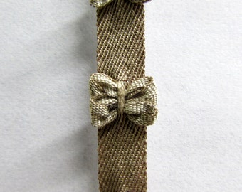 Bow tie french ribbon khaki bows on beige/tan tape 5/16 inch wide
