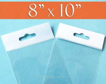 100 8x10  Inch HANG TOP Clear Resealable Cello Bags Packaging for Hanging Photo Display