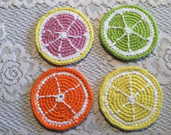 Crochet grapefruit, lime, orange, lemon fruit slice coasters
