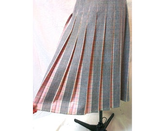 1950s Pink Plaid Reversible Skirt