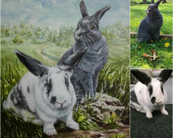 Custom pet portrait painting custom pet painting pet portrait oil painting custom portrait from photo rabbits painting art commission canvas