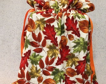 Bright Autumn Leaves Fabric Gift Bag - Large