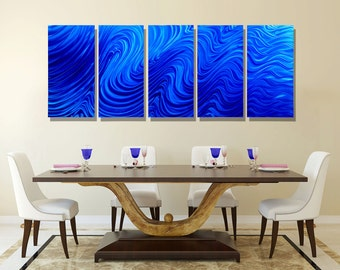 Extra Large Abstract Metal Wall Art in Blue, Decorative Multi Panel Wall Art for a Modern Decor - Blue Hypnotic Sands 5P XL by Jon allen