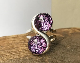 Pink Dichroic Fused Glass 2 Stone Ring with Silver Plated Expandable Ring Band Setting