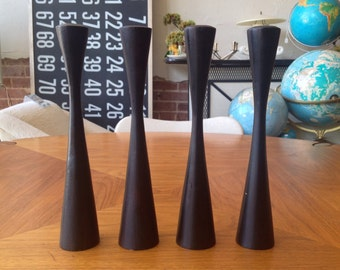 Wood Turned Candle Holder Scandinavian Modern Set Of Four