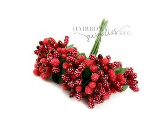 Red Pip Berry Stems 1 inch - Pip Berries, Berry Stamen, Pip Berry Wreath, Flower Making, Flower Stamens, Artificial Berries, Pip Berries