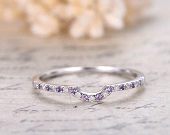 Curved Wedding Ring,Half Eternity Ring,Anniversary Band,Diamond Wedding Band,Solid 14K White Gold,Amethyst Matching Band,Curved Ring,Promise