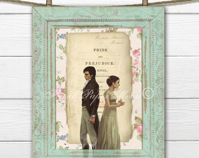 Digital Download Shabby Jane Austen, Pride and Prejudice Digital Image, Jane Austen Digital Sheet, Regency Collage
