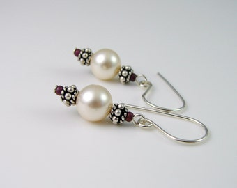 White Crystal  Pearl and Sterling Silver Earrings