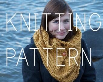 Knitting Pattern Cowl - Easy Intermediate Beginner - Digital Download