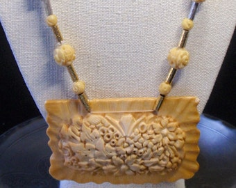Vintage Carved Celluloid Rosette Necklace