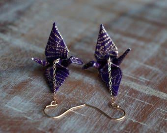 Peace crane earrings, purple and gold earrings, paper earrings, paper jewelry, origami earrings, origami jewelry, gold chain