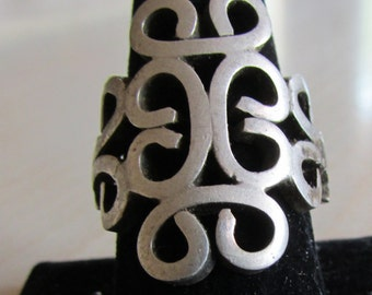 Huge Adjustable Sterling Silver Ring  Size 11 now.
