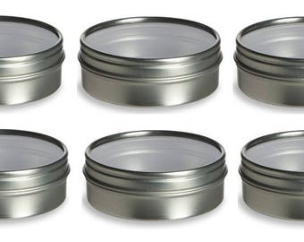 2 oz Clear Top Tin Containers- Round, Silver- Set of 6