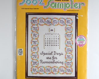 SOO-Z Cross Stitch Sampler S132 Special Days Sliding Calendar Embroidered Linen