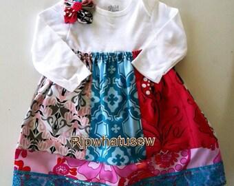 Handmade New Born to 12 Months Onesie Dress Baby Patchwork fabric Flower alligator clip Bling Ribbon trim button Long short sleeve